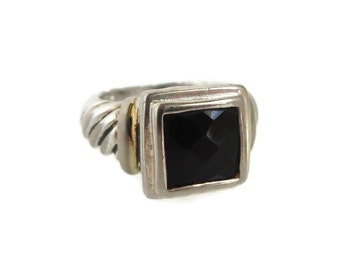 Black Spinel Sterling Silver Ring, Vintage Scrolled Band Ring, Size 5.5