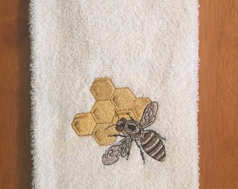 Embroidered ~BEE in HONEYCOMB~ Kitchen Bath Hand Towe