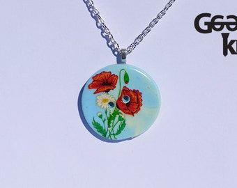 Poppy Button Necklace, button, OOAK