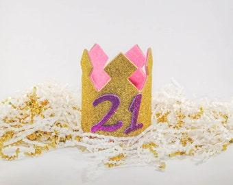 21st Birthday Crown, Twenty First Birthday Crown, Glitter Crown, Gold Crown