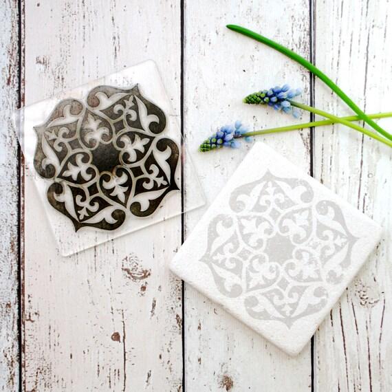 Tile Print - Tile Stamp - Hand Printed Tiles - Kitchen Tiles - Moroccan Tile - Flexi-Clear Stamp - Little Stamp Store