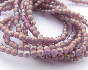 NEW Luster Iris Milky Amethyst 2mm Smooth Round Czech Glass  Beads 100pc #3091