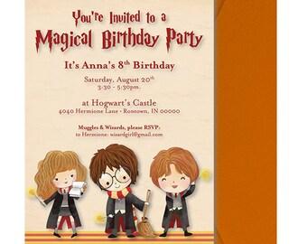 Harry Potter Birthday Party Invitation - Harry Potter Party Invitation - Harry Potter Invite - Wizard Kids - Harry Hermione Ron