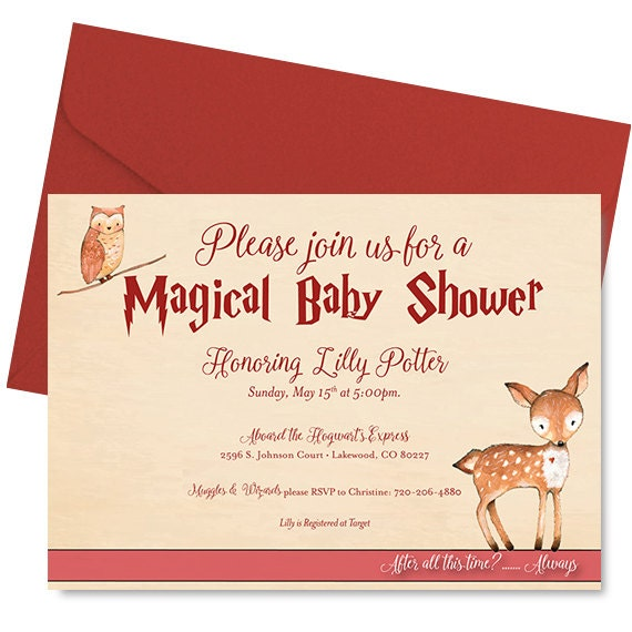 Harry Potter Baby Shower: Items Similar To Harry Potter Baby Shower Invitation