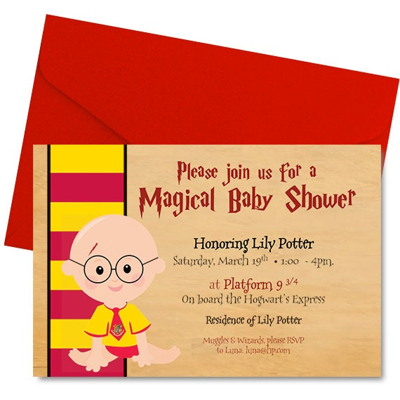 harry potter baby shower invitation harry potter shower