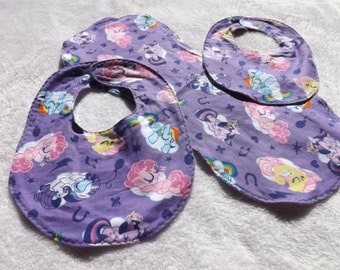 baby bib, newborn bib, and burp cloth made from purple My Little Pony flannel w/ White flannel backing making it reversible