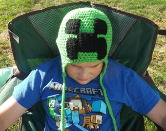 Minecraft creeper inspired crochet winter trapper hat, ear flaps, cosplay, gaming, adult, teen, kids, infant, costume,  video game, pixels