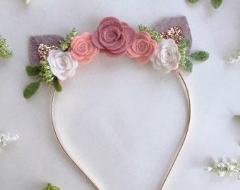 Fawn Ear Headband - Felt flower Crown - baby deer headband - photo prop - Spring '16 - m2m matilda jane
