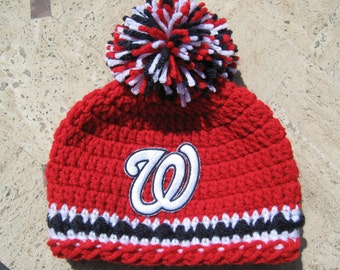 Crochet Beanie Baby Hat (Washington Nationals) Embroidered Logo - Red, White & Blue with embroidered Nationals logo, 1 or 2 pom pom availabl