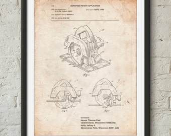 Circular Saw Patent Poster, Woodworking, Unique Gifts for Dad, Woodworking Tools, Garage Decor, Tools Art, PP0767