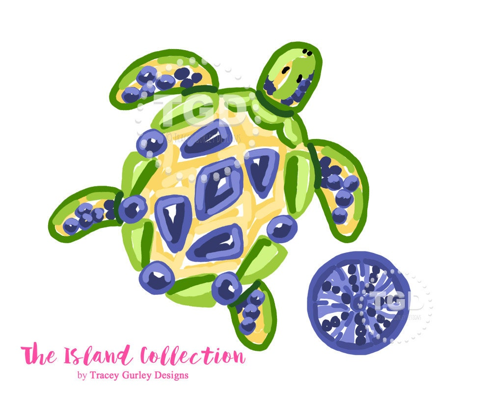 Preppy Sea Turtle clip art Original Art download preppy