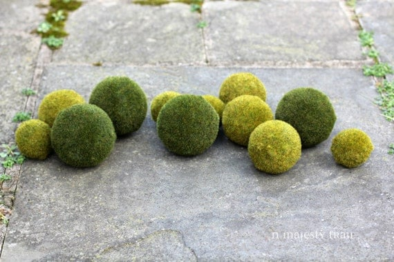 12 Faux Moss Balls Supply Round Orb Sphere Green Home
