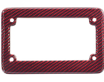 Real 100% Red Carbon Fiber Motorcycle License Plate Frame With Free Caps