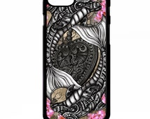 Dolphin rose pretty girly love heart flower floral art tattoo pattern graphic cover for iphone 4 4s 5 5s 5c 6 6 plus SE phone case