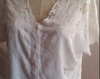 Vintage nineties Skally Rags Byron Bay cotton broderie anglaise blouse size 14