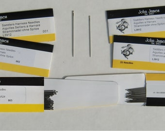 John James Saddlers Harness Needles, size M (003, 002, & 001), and size S (4)  Fits Ritza 25 Tiger Thread sizes 1.0mm, 0.8mm and 0.6mm