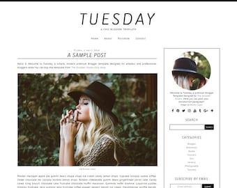 Tuesday - Pre-made Blogger Template (Blogspot.com Template) - Mobile-Friendly