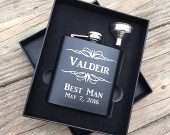Personalized Gift, Engraved Hip Flask, Father of the Groom, Bestman gift, Groomsmen Gift Box, Cool Groomsmen Gift, Unique Mens Gift Idea