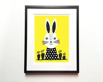 Rabbit print – Bunny print, Animal Illustration, Animal Print, Kids room art, Nursery room Art, Baby nursery decor, Wall art, Home decor