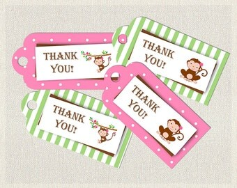 Pink Thank You Favor Tags Birthday Monkey Green 1st 2nd 3rd Printable Girls IV-1