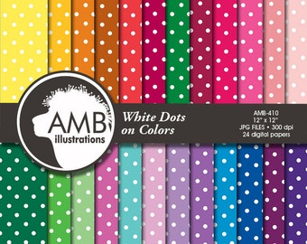 Polka Dots papers, polka dot papers, white dots and colored backgrounds, scrapbook papers, commercial use, digital download, AMB-410