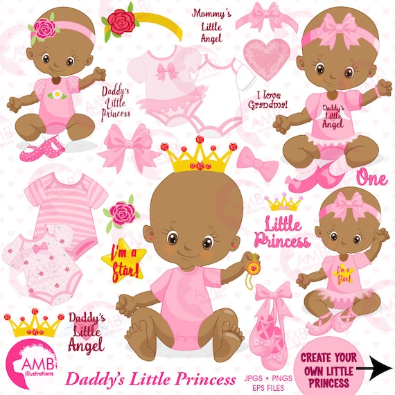 baby girl clipart african american little princess clipart create