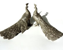 French Vintage Peacock Figurines/ French Vintage Pair Of Peacocks