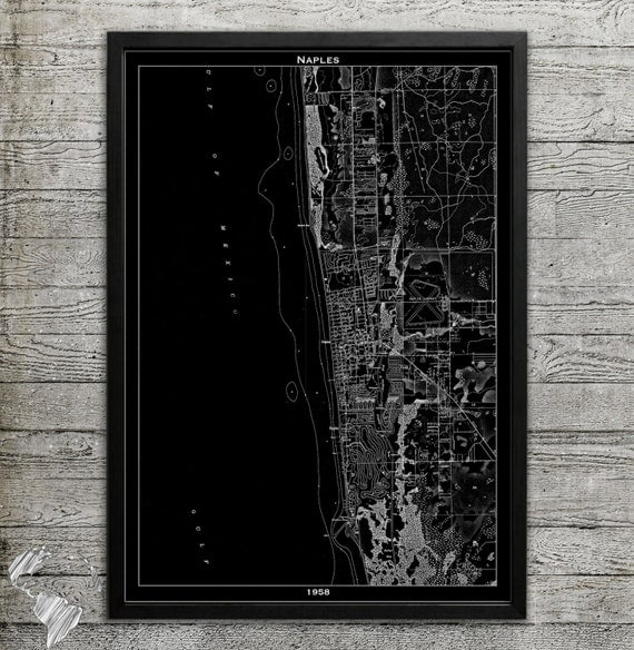 Wall Art Decor Naples Fl : Map of naples fl print wall decor for your home or office
