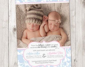 Vintage Damask Twin Birth Announcement