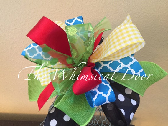 Wreath Bow Multi Ribbon Bow Summer Bow Whimsical Bow Wreath