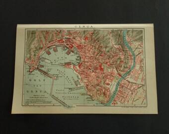 "GENOA old map 1911 original antique city plan of Genoa Italy - detailed vintage maps - 16x25c 6x10"" poster alte karte von Genua"
