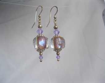 Pale violet glass and Swarovski crystal earrings