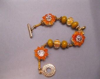 Sunflower Lampwork Beaded Bracelet