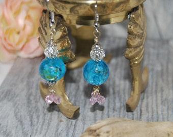 Blue Lampwork and Pink Crystal Dangle Earrings