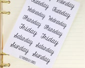 Days of the week planner stickers; Cover up stickers; Happy Planner; Plum Paper; Filofaxing; Erin Condren; Cute Stickers