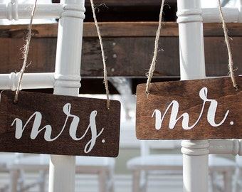 Wedding Mr and Mrs Signs - Mulitiple colors available