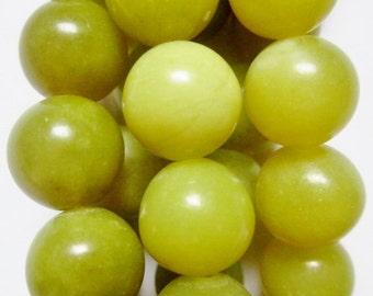 """Natural Serpentine Jade Beads - Round 10 mm Gemstone Beads - Full Strand 15 1/2"""", 39 beads"""