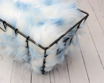 SALE - Soft Blue Frost, Cozy, Cuddly Faux Fur Nest - Perfect Newborn Photography Prop - Plush Two Tome, Filler, Layering, Bean Bag Cover