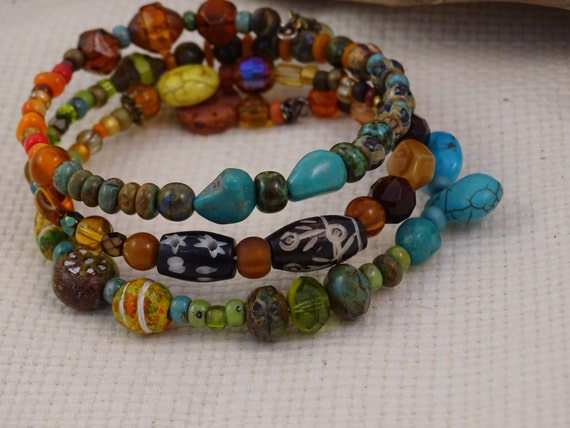 Memory Wire Bracelet-large-Multi colors-Bohemian-Turquoise-African Trade beads-Czech glass-Vintaj-Hippie Wrap Bracelet-Carnelian Sol Designs