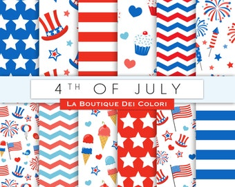 4th of July digital paper. Cute digital paper pack of America Memorial day backgrounds patterns for commercial use clipart