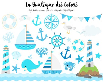 Blue Nautical Clipart, Cute Vector Graphics and PNG, Sea, Sailing, Ocean, Anchor, Lighthouse, Sailboat, Whale, Compass Clip art