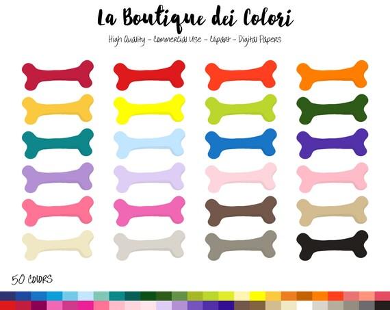 50 Rainbow Dog Bone Clip art, Cute Digital illustrations ...