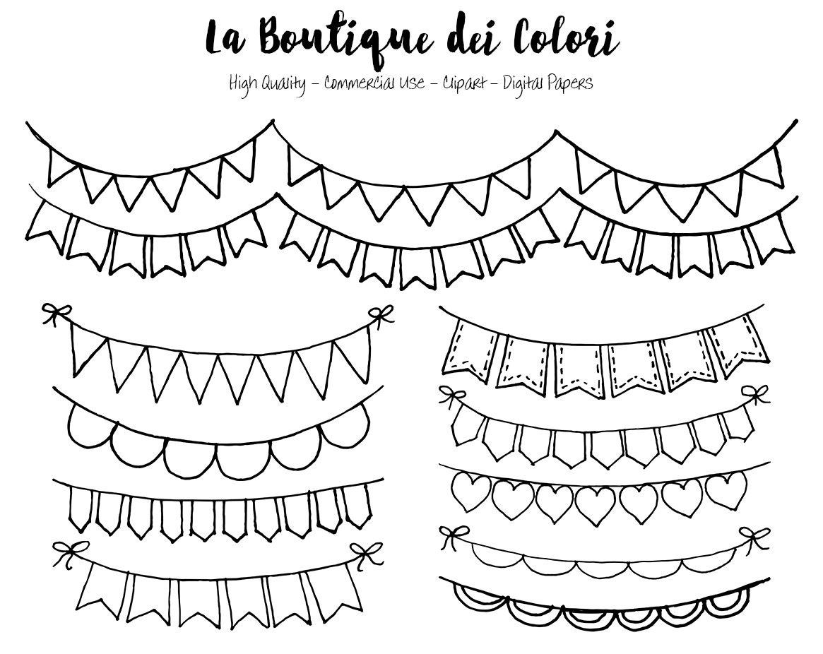String Lights Doodle : Hand Drawn Bunting Banners doodle Digital Clip Art. Party