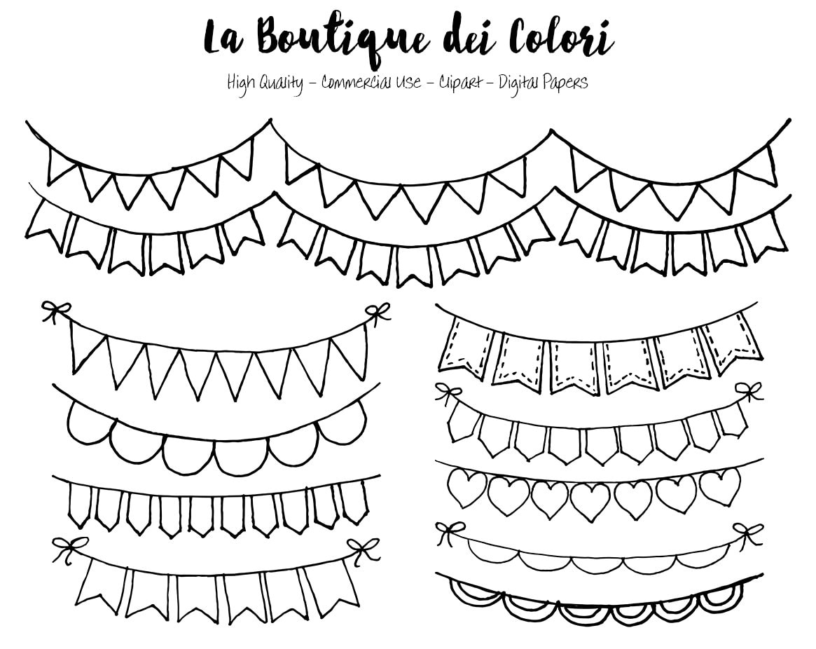Hand Drawn Bunting Banners doodle Digital Clip Art. Party