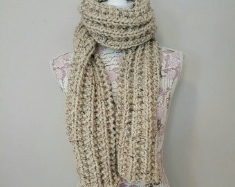 Hand Knit Scarf- Oatmeal