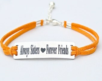 Always Sisters Forever Friends, Stainless Steel Charm , Adjustable Faux Suede Leather Cord Bracelet, Sisters, Gift For Her, Under 20, ST755