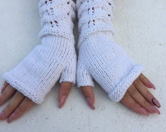 bridal gloves fingerless gloves long arm warmers  Fingerless knitt mittens wrist warmers  boho gloves multicolored gloves Ready to ship