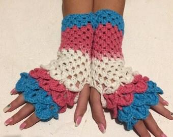 30% off sale! Fingerless crocodile stich women fingerless gloves dragon scale crochet women's gloves women's Arm Warmers  gift Accessory