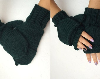green men  gloves  Convertible Mittens  green gloves Knitted Glittens Glove Mittens Combo Convertible Mittens dark green Winter Accessories
