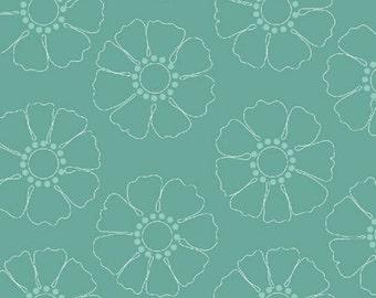 Half Yard Hazel - Stencil Flower in Teal - Cotton Quilt Fabric - Allison Harris of Cluck Cluck Sew for Windham Fabrics - 40839-7 (W3412)